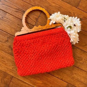 Vintage Woven Crochet Bag with Wood Handles